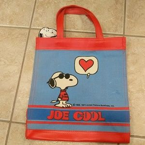 Snoopy Joe Cool vintage canvas tote bag
